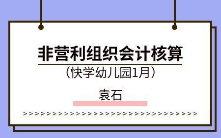 非营利组织会计核算(快学幼儿园1月)
