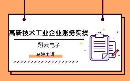 [直播]高新技术工业企业账务实操(翔云电子)