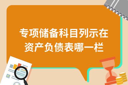 专项储备科目列示在资产负债表哪一栏