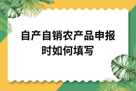?自产自销农产品申报时如何填写