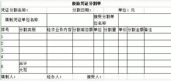 你好 分割单 是让收到 发票的一方给你开的。 然后用发票复印件给你 参考附件来开  自己做表